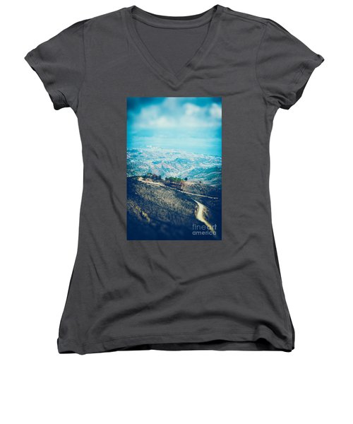 Women's V-Neck T-Shirt (Junior Cut) featuring the photograph Sicilian Land After Fire by Silvia Ganora