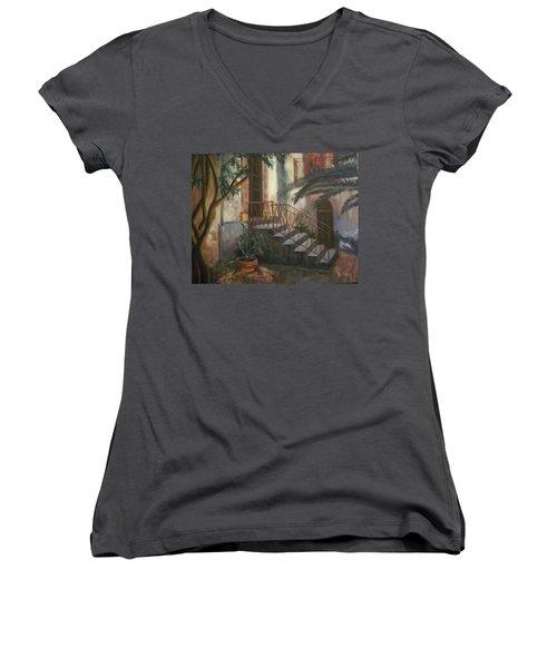 Women's V-Neck T-Shirt (Junior Cut) featuring the painting Sicilian Nunnery by Donna Tuten