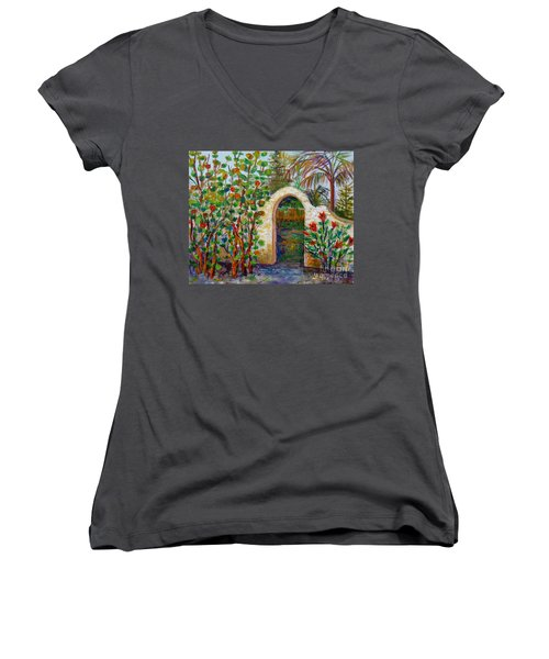 Women's V-Neck T-Shirt (Junior Cut) featuring the painting Siesta Key Archway by Lou Ann Bagnall