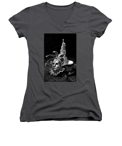 Women's V-Neck T-Shirt (Junior Cut) featuring the photograph Silent Night In Venice by Elf Evans