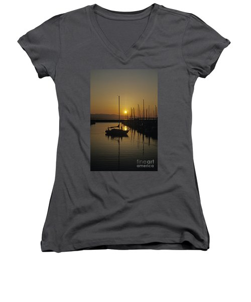 Silhouetted Man On Sailboat Women's V-Neck T-Shirt