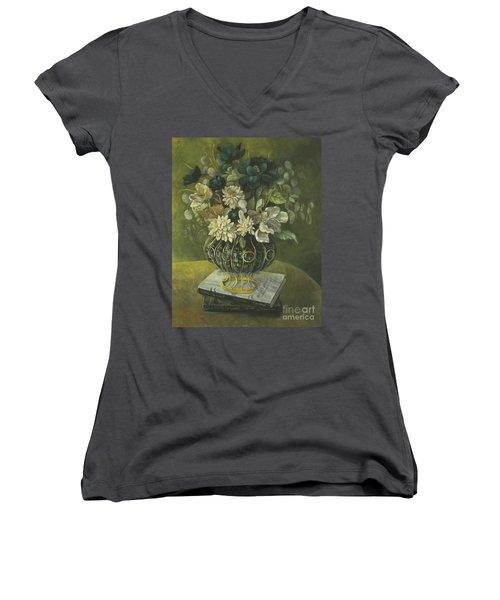 Women's V-Neck T-Shirt (Junior Cut) featuring the painting Silk Floral Arrangement by Marlene Book