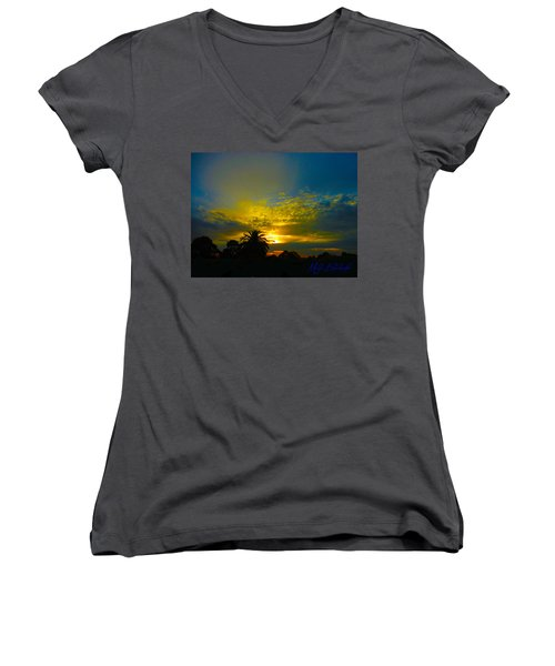 Silken Sunset Women's V-Neck T-Shirt