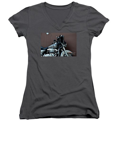 Women's V-Neck T-Shirt (Junior Cut) featuring the photograph Silver Harley Motorcycle by Imran Ahmed
