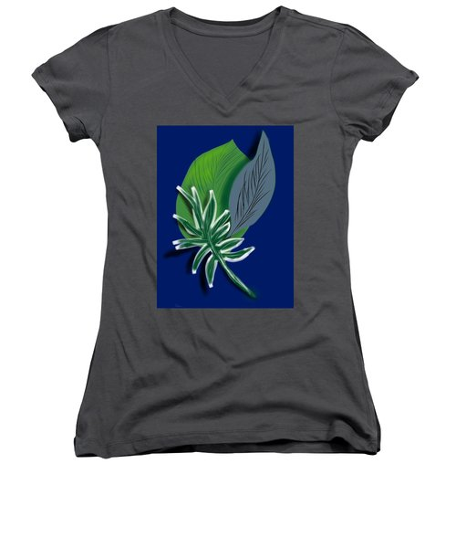 Women's V-Neck T-Shirt (Junior Cut) featuring the digital art Silver Leaf And Fern I by Christine Fournier