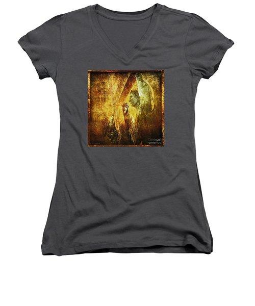 Simon Helps Jesus Via Dolorosa 5 Women's V-Neck T-Shirt (Junior Cut) by Lianne Schneider