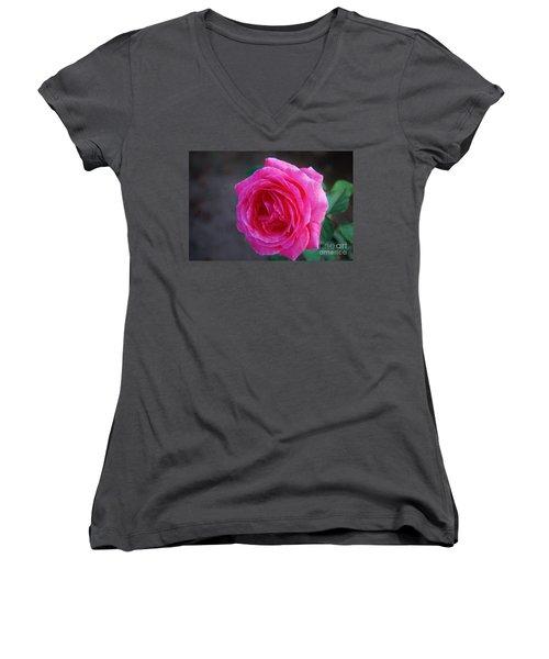 Simply A Rose Women's V-Neck T-Shirt (Junior Cut) by Angela J Wright