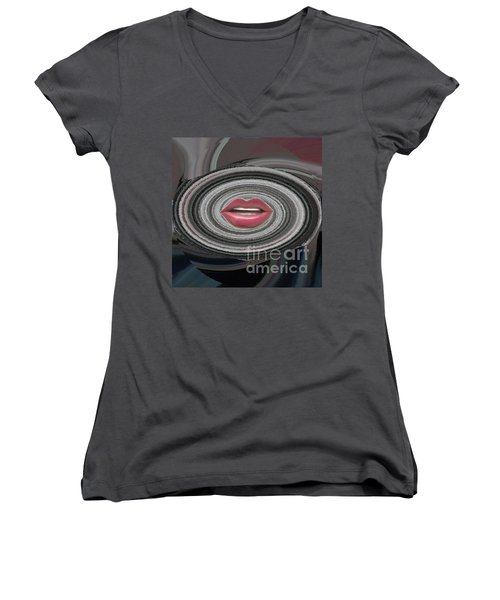 Women's V-Neck T-Shirt (Junior Cut) featuring the digital art Sing by Catherine Lott