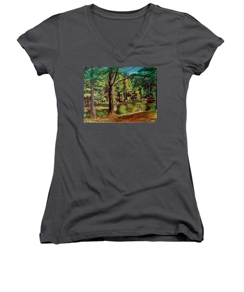 Sisters At Wason Pond Women's V-Neck (Athletic Fit)
