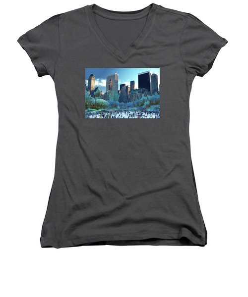 Women's V-Neck T-Shirt (Junior Cut) featuring the photograph Skating Fantasy Wollman Rink New York City by Tom Wurl