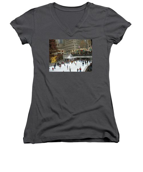 Skating In Rockefeller Center Women's V-Neck T-Shirt