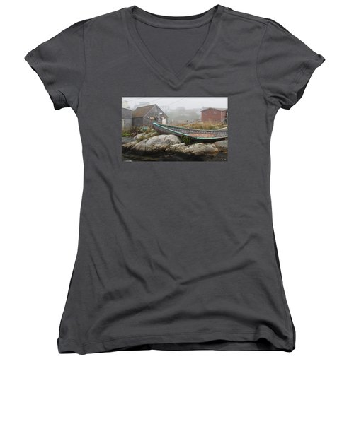 Women's V-Neck T-Shirt (Junior Cut) featuring the photograph Skeleton Ashore by Jennifer Wheatley Wolf