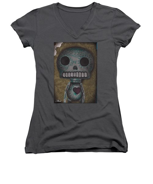 Skelly With A Heart Women's V-Neck T-Shirt