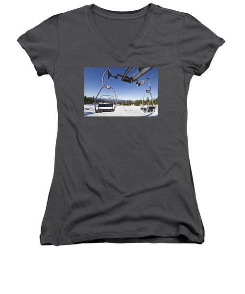Ski Lifts At Mount Hood In Oreon Women's V-Neck T-Shirt