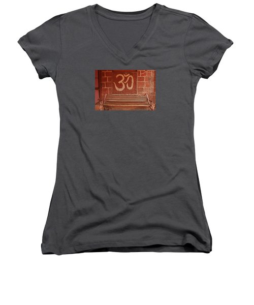 Women's V-Neck T-Shirt (Junior Cut) featuring the photograph Skc 0316 Welcome The Gods by Sunil Kapadia