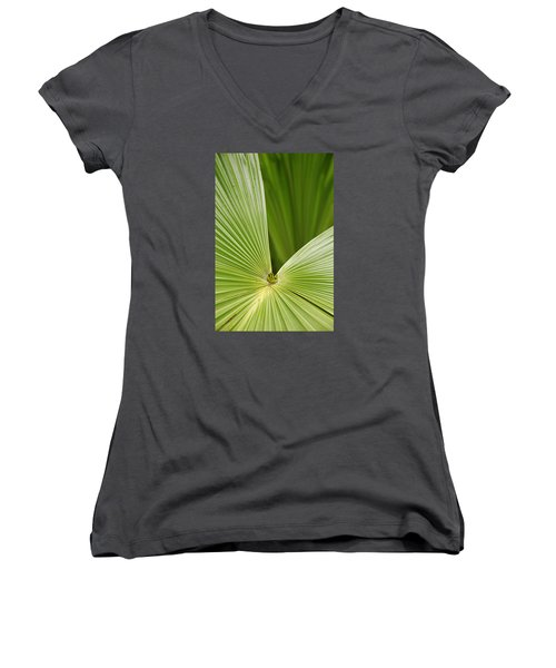 Women's V-Neck T-Shirt (Junior Cut) featuring the photograph Skc 0691 The Paths Of Palm Meeting At A Point by Sunil Kapadia