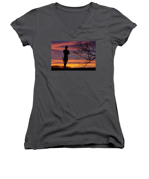 Women's V-Neck T-Shirt (Junior Cut) featuring the photograph Sky Fire - 124th Ny Infantry Orange Blossoms-1a Sickles Ave Devils Den Sunset Autumn Gettysburg by Michael Mazaika