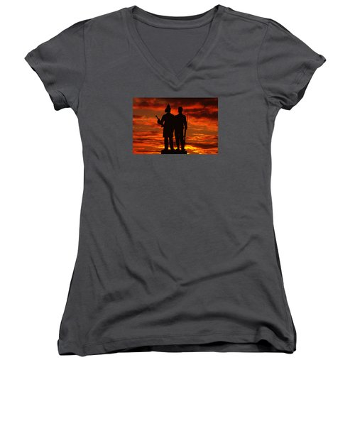 Sky Fire - 73rd Ny Infantry Fourth Excelsior Second Fire Zouaves-a1 Sunrise Autumn Gettysburg Women's V-Neck T-Shirt (Junior Cut) by Michael Mazaika