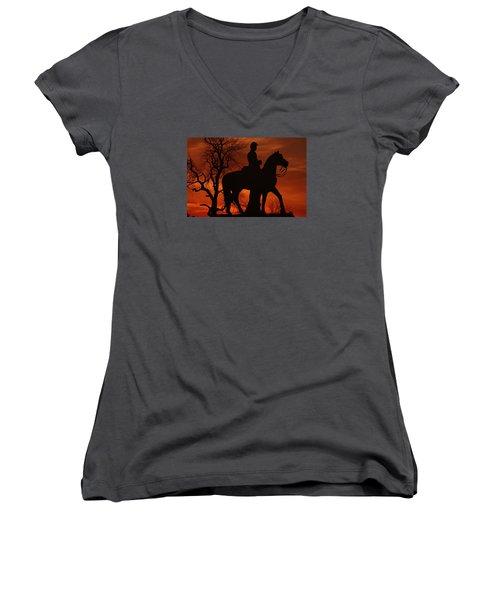Women's V-Neck T-Shirt (Junior Cut) featuring the photograph Sky Fire - 8th Pennsylvania Cavalry Regiment Pleasonton Avenue Sunset Autumn Gettysburg by Michael Mazaika