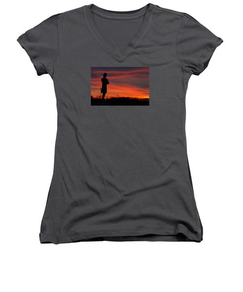 Women's V-Neck T-Shirt (Junior Cut) featuring the photograph Sky Fire - Aotp 124th Ny Infantry Orange Blossoms-2a Sickles Ave Devils Den Sunset Autumn Gettysburg by Michael Mazaika