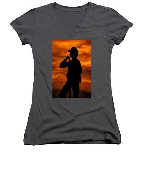 Women's V-Neck T-Shirt (Junior Cut) featuring the photograph Sky Fire - Flames Of Battle 7th Pennsylvania Reserve Volunteer Infantry-a1 Sunset Antietam by Michael Mazaika