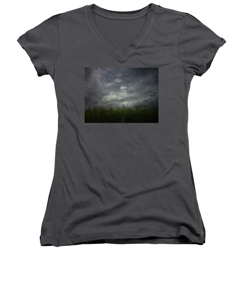 Sky With Cornfield Women's V-Neck T-Shirt