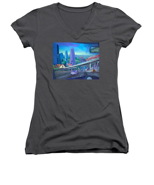 Women's V-Neck T-Shirt (Junior Cut) featuring the painting Skyfall Double Vision by Art James West