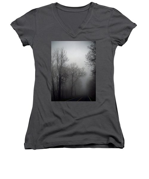 Skyline Drive In Fog Women's V-Neck T-Shirt (Junior Cut) by Greg Reed