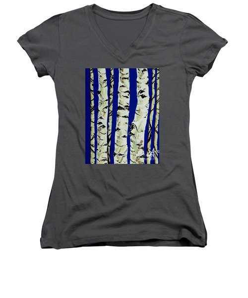 Women's V-Neck T-Shirt (Junior Cut) featuring the painting Sleeping Giants by Jackie Carpenter