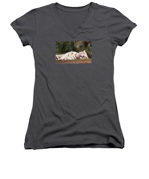 Sleeping White Snow Tiger Women's V-Neck T-Shirt (Junior Cut) by Belinda Lee