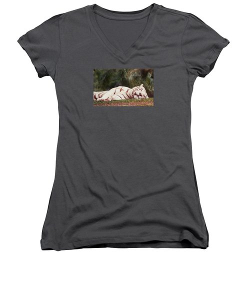 Sleeping White Snow Tiger Women's V-Neck (Athletic Fit)