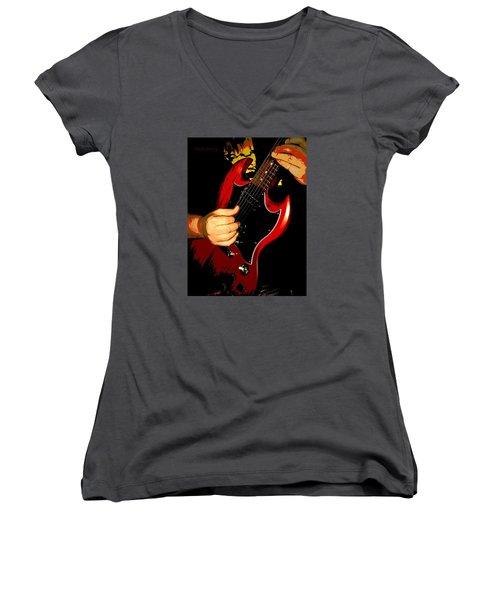 Red Gibson Guitar Women's V-Neck T-Shirt (Junior Cut)