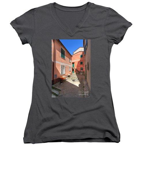 small square in Camogli Women's V-Neck T-Shirt (Junior Cut) by Antonio Scarpi
