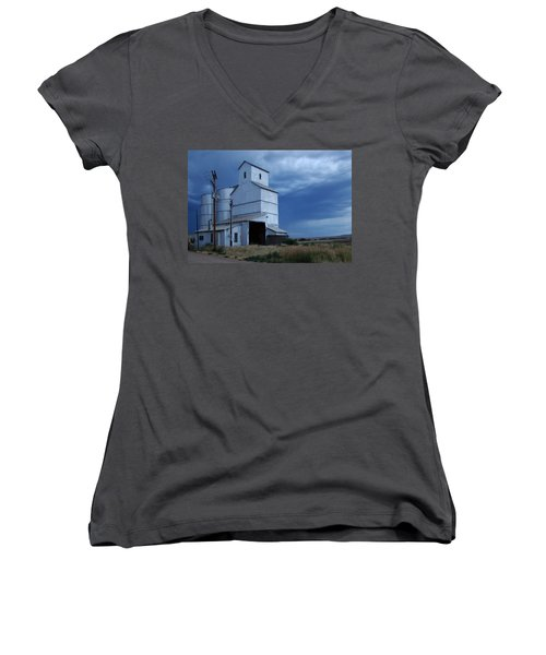 Women's V-Neck T-Shirt (Junior Cut) featuring the photograph Small Town Hot Night Big Storm by Cathy Anderson