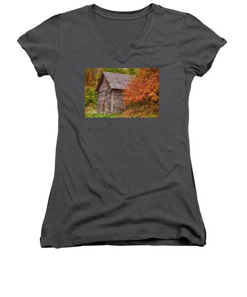 Women's V-Neck T-Shirt (Junior Cut) featuring the photograph Small Wooden Shack In The Autumn Colors by Jeff Folger