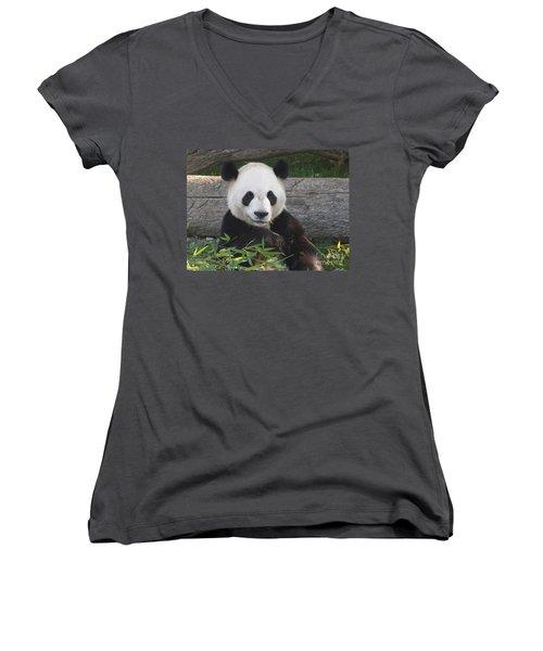 Smiling Giant Panda Women's V-Neck T-Shirt (Junior Cut) by Lingfai Leung