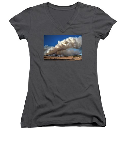 Smoke Column From The Norbeck Prescribed Fire. Women's V-Neck