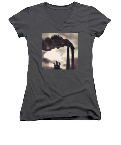 Smoke Stack Women's V-Neck T-Shirt (Junior Cut)