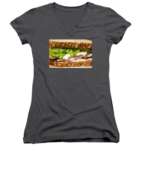 Smoked Turkey Sandwich Women's V-Neck T-Shirt (Junior Cut) by Edward Fielding