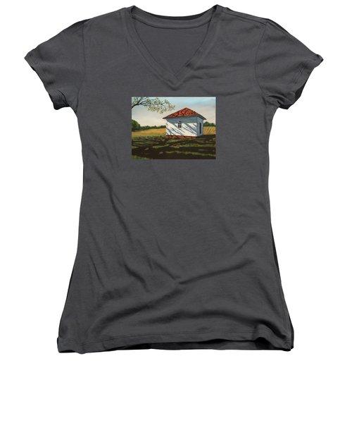 Smokehouse Women's V-Neck T-Shirt (Junior Cut) by Alan Mager
