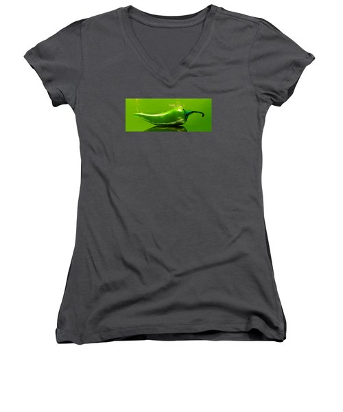 Aaron Berg Photography Women's V-Neck T-Shirt (Junior Cut) featuring the photograph Smoke'n Hot Green Pepper  by Aaron Berg