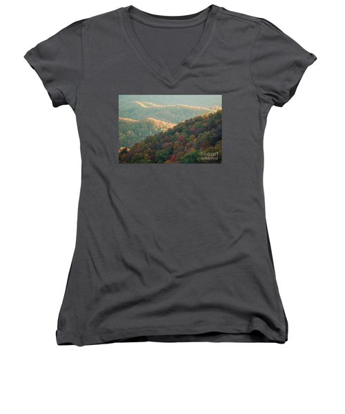 Smoky Mountain View Women's V-Neck (Athletic Fit)
