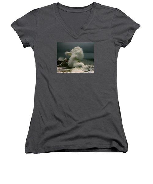 Snake Wave Women's V-Neck T-Shirt (Junior Cut) by Michael Cinnamond