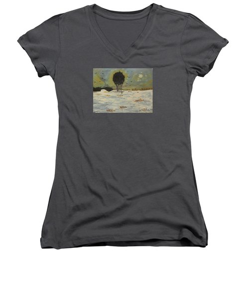 Women's V-Neck T-Shirt (Junior Cut) featuring the painting Snow At Christmas by Pamela  Meredith