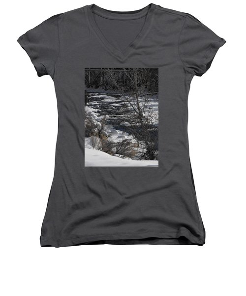 Snow Capped Stream Women's V-Neck (Athletic Fit)