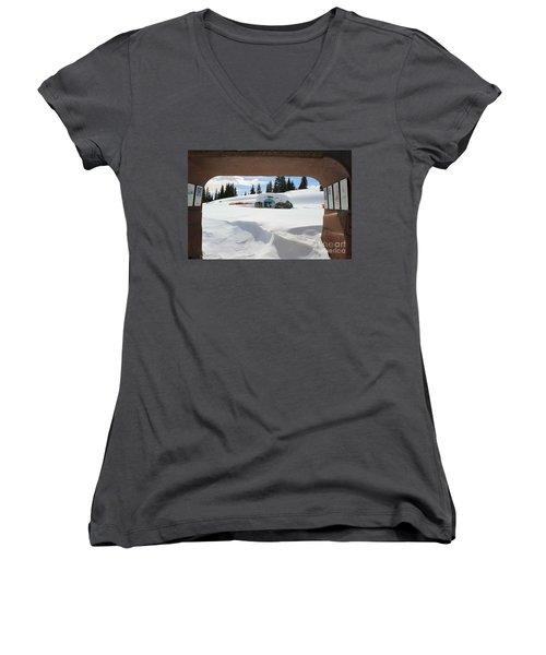 Snow Daze Women's V-Neck T-Shirt (Junior Cut) by Fiona Kennard
