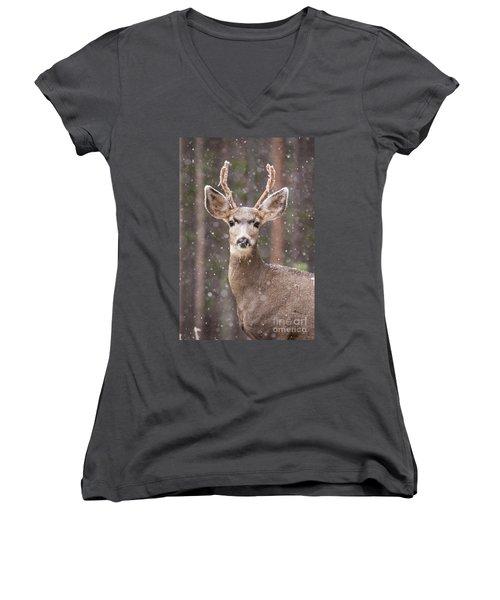 Snow Deer 1 Women's V-Neck
