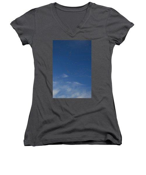 Snow Geese In Flight Women's V-Neck T-Shirt