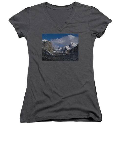 Snow Kissed Valley Women's V-Neck T-Shirt (Junior Cut) by Bill Gallagher