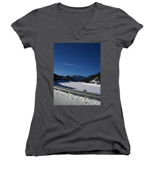 Women's V-Neck T-Shirt (Junior Cut) featuring the photograph Snow Lake by Jewel Hengen